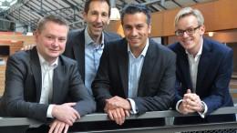 LindaCare founding team (from right to left): Damien De Greef (CCO), Shahram Sharif (CEO), MMaquieira (CTO) and Nicolas Giraud (COO).