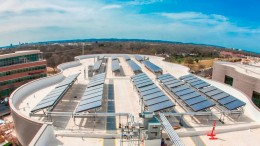 Rooftop solar panel installation at Dell Children's Medical Center of Central Texas, Austin, Texas