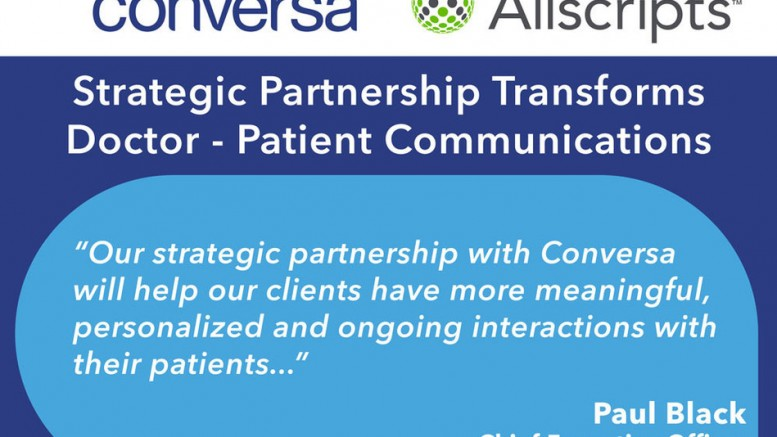 Conversa Health, a StartupHealth company, partners with Allscripts